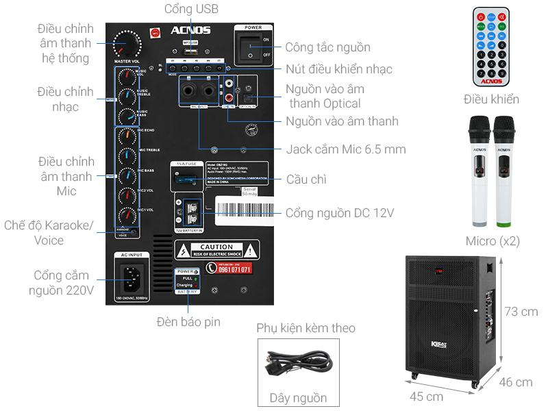 Thông số kỹ thuật Loa Kéo Karaoke Acnos CBZ16G 650W