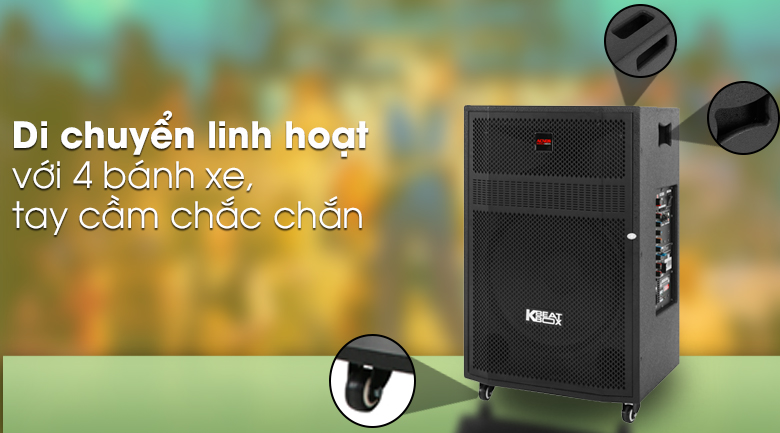 Loa Kéo Karaoke Acnos CBZ16G 650W - Di chuyển linh hoạt