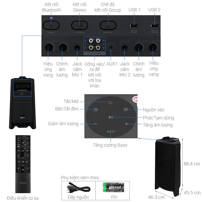 Thông số kỹ thuật Loa Tháp Samsung MX-T70/XV