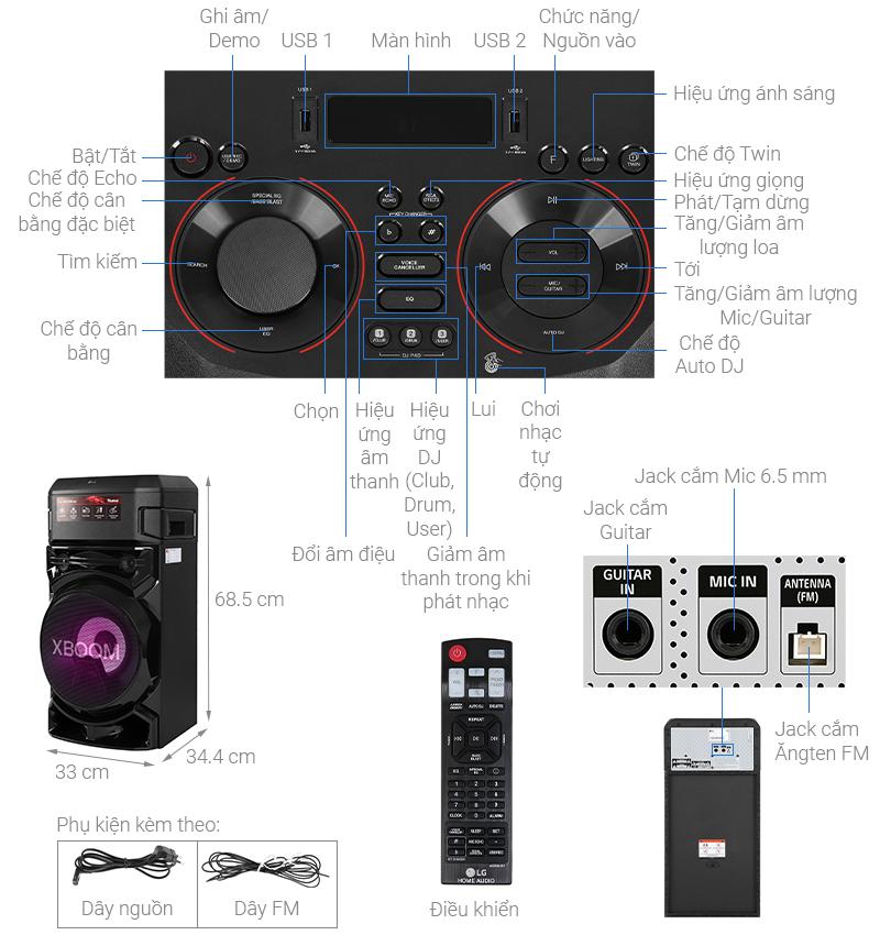 Thông số kỹ thuật Loa Karaoke LG Xboom RN5