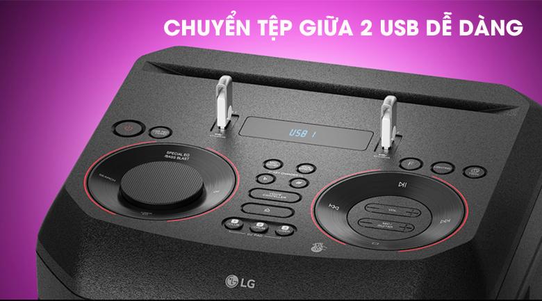 Loa Karaoke LG Xboom RN5 - Chuyển đổi tệp giữa 2 USB dễ dàng