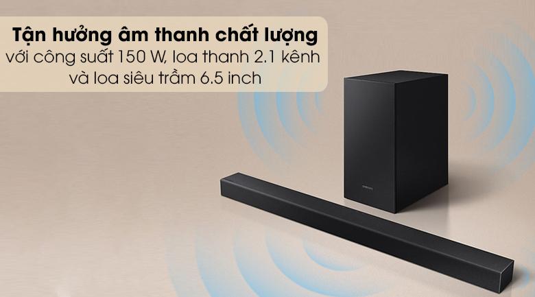 Loa thanh SAMSUNG HW-T450 - Loa thanh 2.1 kênh và loa siêu trầm 6.5 inch