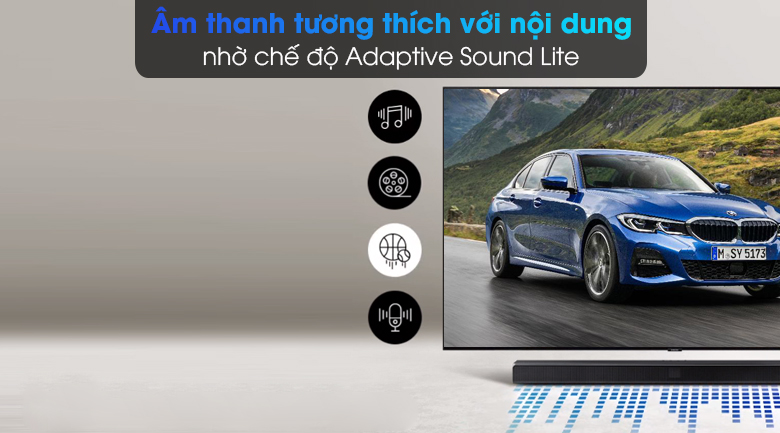 Loa thanh Samsung HW-T550 - Tối ưu âm thanh theo từng nội dung phát ra với chế độ Adaptive Sound Lite
