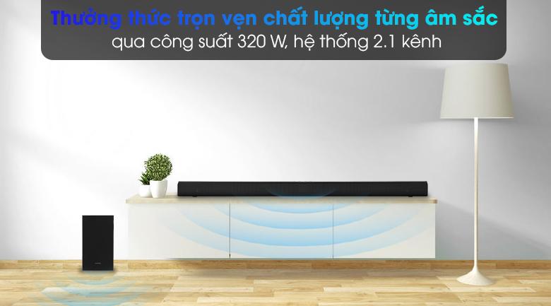 Loa thanh Samsung HW-T550 - Thưởng thức trọn vẹn chất lượng từng âm sắc với âm trầm mạnh mẽ nhờ công suất 320 W, 2.1 kênh