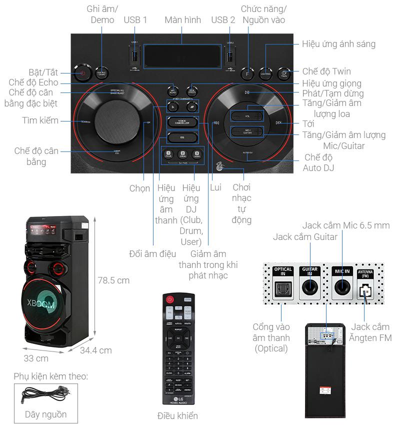 Thông số kỹ thuật Loa Karaoke LG Xboom RN7