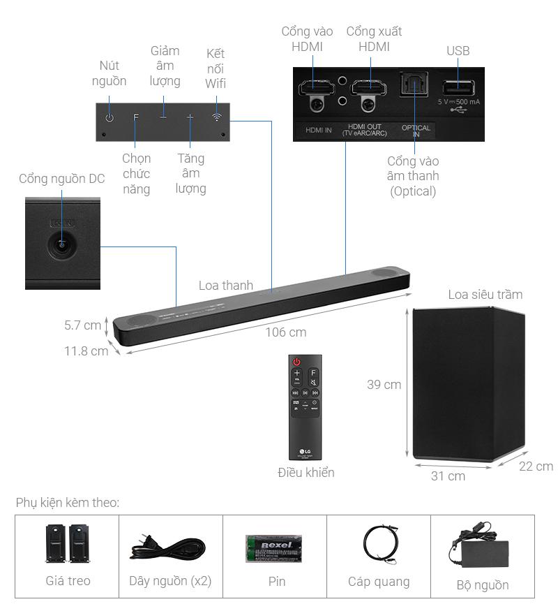 Thông số kỹ thuật Loa thanh soundbar LG 3.1.2 SN8Y 440W