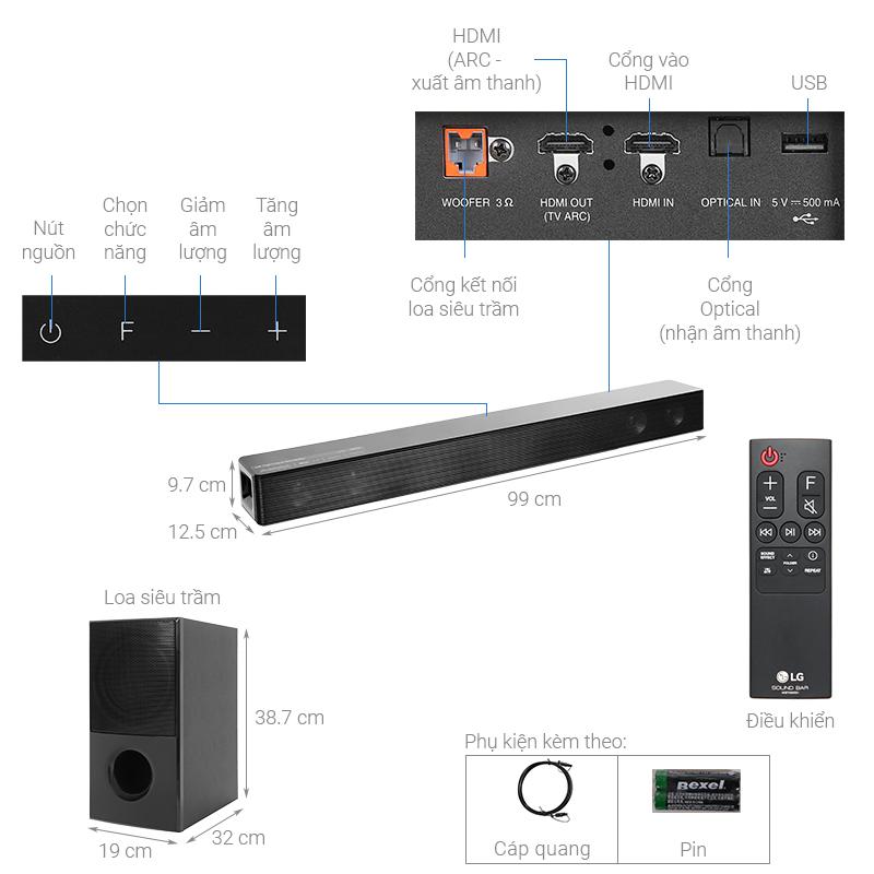 Thông số kỹ thuật Loa thanh soundbar LG 4.1 SNH5 600W