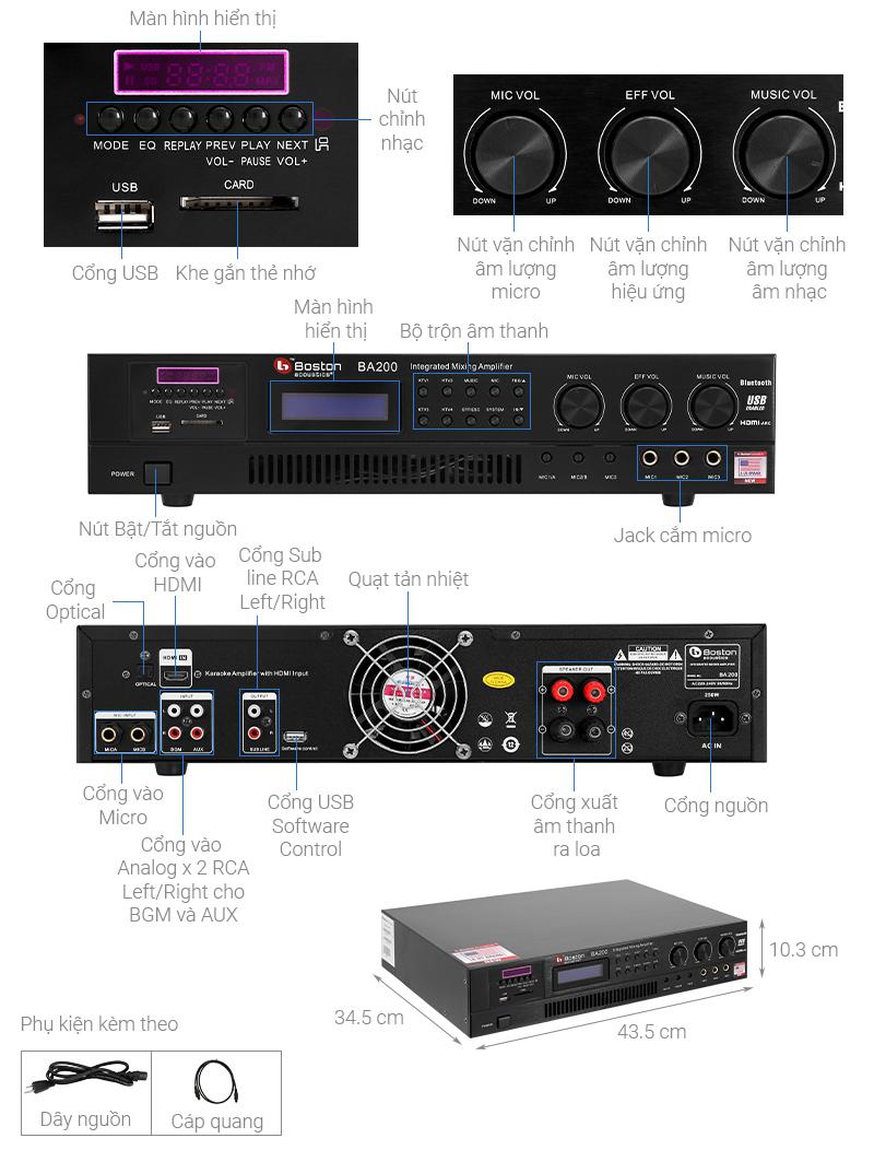 Thông số kỹ thuật Amply Karaoke Boston Acoustics BA200