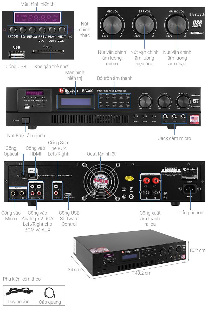 Thông số kỹ thuật Amply Karaoke Boston Acoustics BA300