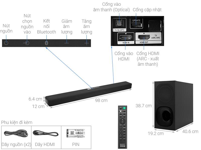 Thông số kỹ thuật Loa thanh Sony 3.1 HT- G700