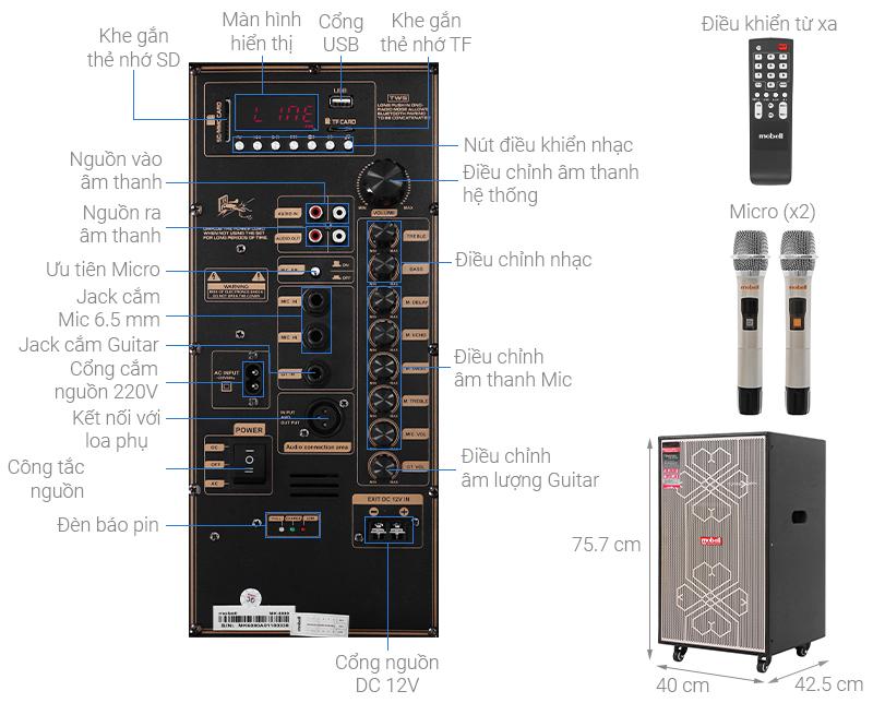Thông số kỹ thuật Loa kéo Karaoke Mobell MK-6080 600W
