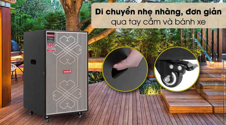 Loa kéo Karaoke Mobell MK-6080 600W - Thiết kế với 4 bánh xe linh hoạt, có tay cầm