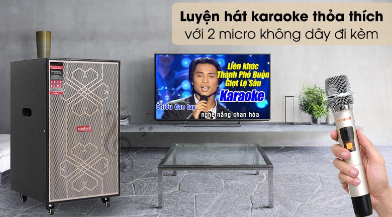 Loa kéo Karaoke Mobell MK-6080 600W - Hát karaoke tiện lợi với 2 micro chuyên dụng tặng kèm theo loa