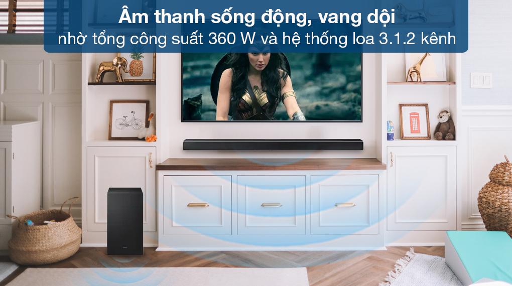 Loa thanh Samsung HW-Q630 - Chất âm mạnh mẽ, lôi cuốn với công suất 360 W và hệ thống loa 3.1.2 kênh