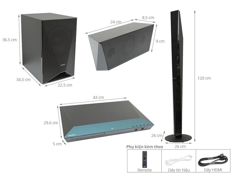 Thông số kỹ thuật Dàn âm thanh Sony 5.1 BDV-E6100 1000W