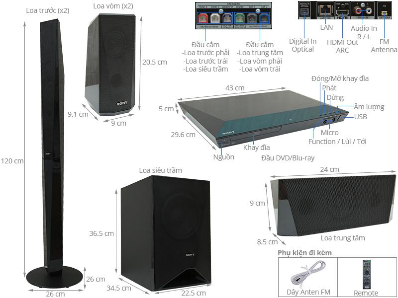 Thông số kỹ thuật Dàn âm thanh Sony 5.1 BDV-E4100 1000W