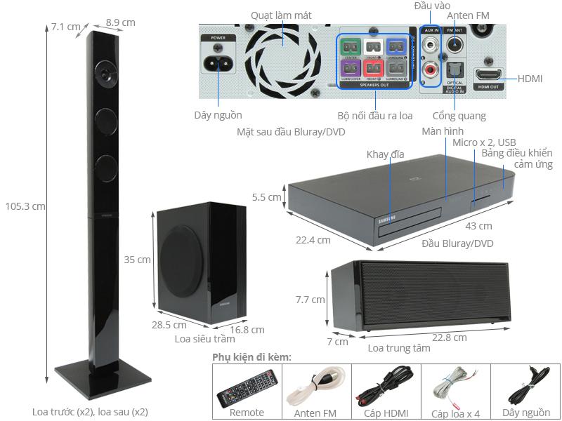 Thông số kỹ thuật Dàn âm thanh 5.1 Samsung HT-J5150K