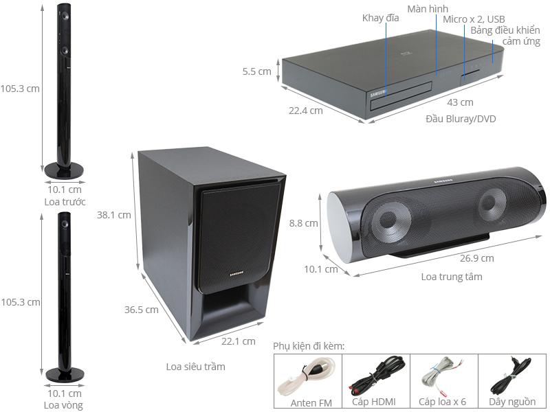 Thông số kỹ thuật Dàn máy Samsung HT-J5550K/XV 5.1CH