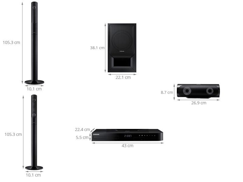 Thông số kỹ thuật Dàn âm thanh 5.1 Samsung HT-J5550WK/XV