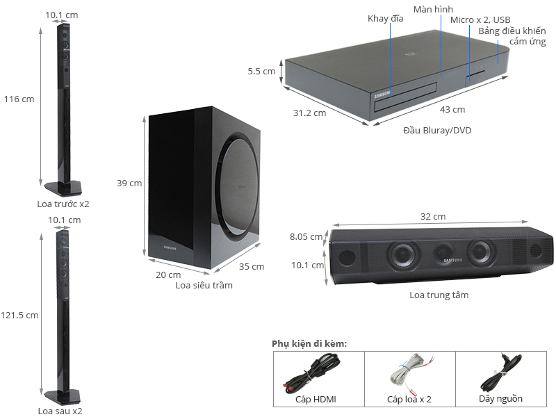 Thông số kỹ thuật Dàn máy Samsung HT-J7750W/XV 7.1CH