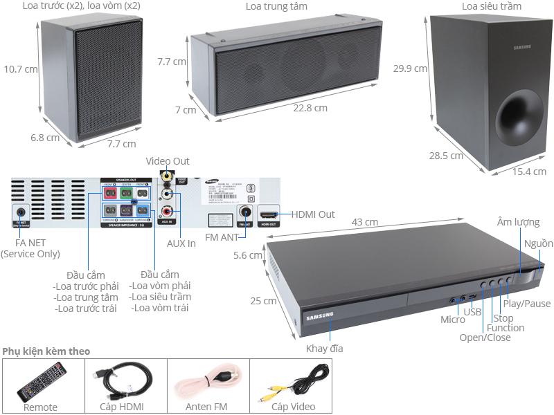 Thông số kỹ thuật Dàn âm thanh 5.1 Samsung HT-E350K