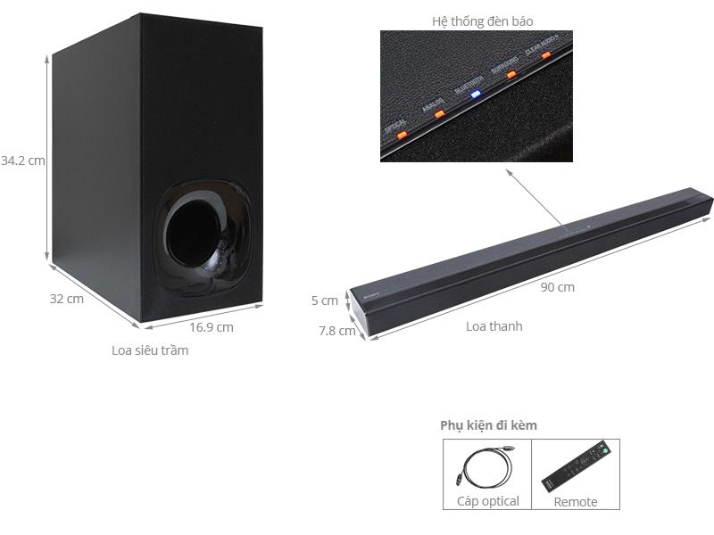 Thông số kỹ thuật Loa Soundbar Sony 2.1 kênh HT-CT180