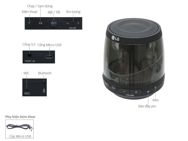 Thông số kỹ thuật Loa Bluetooth LG PH1. AVNMLLK 2.5W