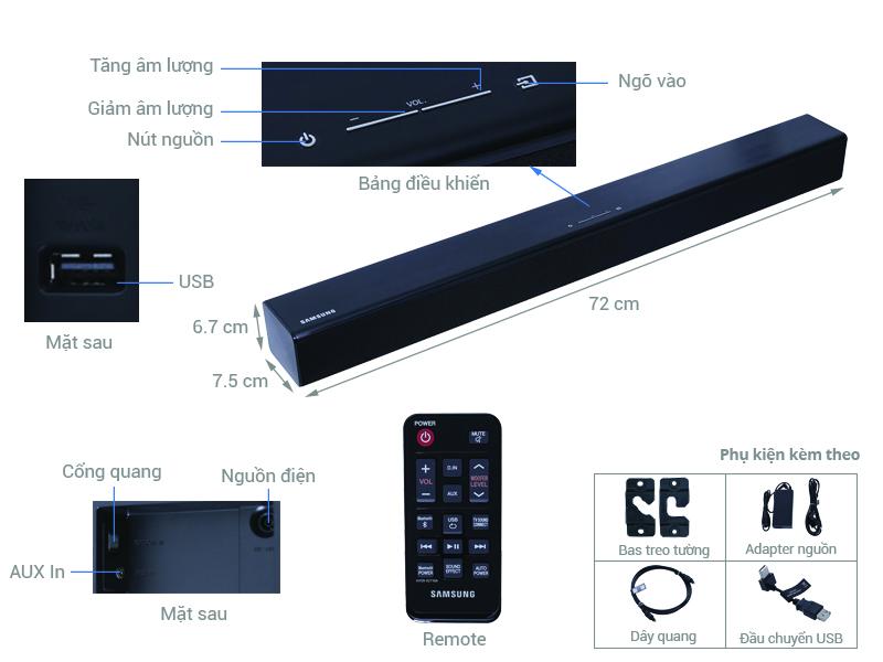 Thông số kỹ thuật Loa thanh 2.2 Samsung HW-J250/XV