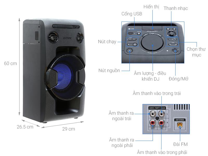 Thông số kỹ thuật Dàn âm thanh Hifi Sony MHC-V11 430W