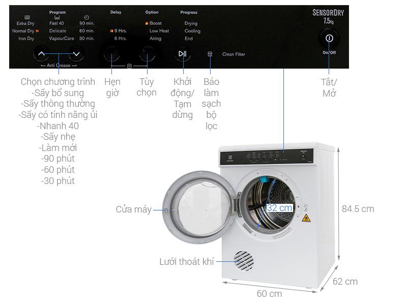 Thông số kỹ thuật Máy sấy Electrolux 7.5 kg EDS7552