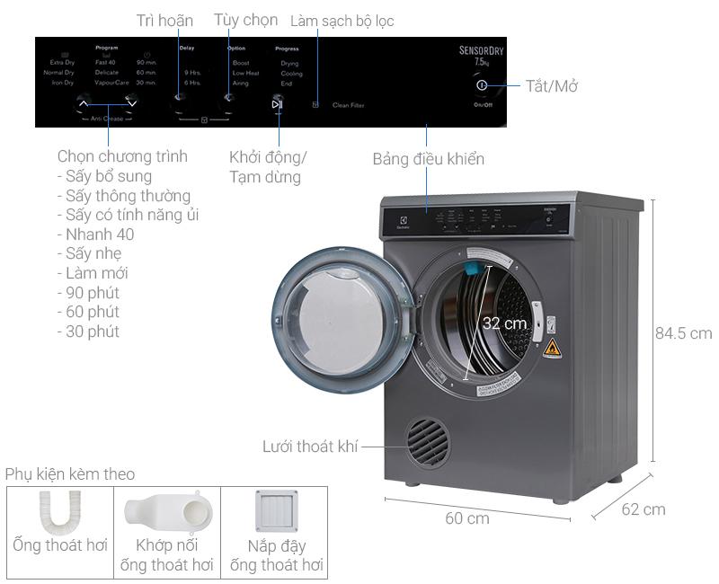 Thông số kỹ thuật Máy sấy Electrolux 7.5 kg EDS7552S