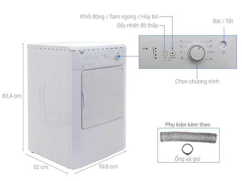 Thông số kỹ thuật Máy sấy Beko 7 kg DV7110