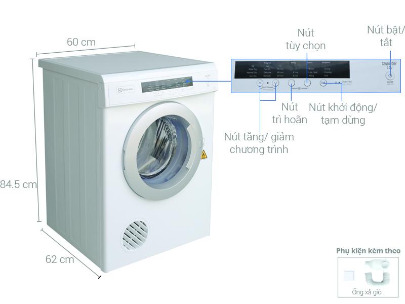 Thông số kỹ thuật Máy sấy Electrolux 7.5 kg EDV7552