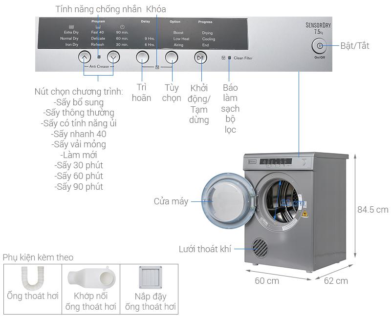 Thông số kỹ thuật Máy sấy Electrolux 7.5 kg EDV7552S