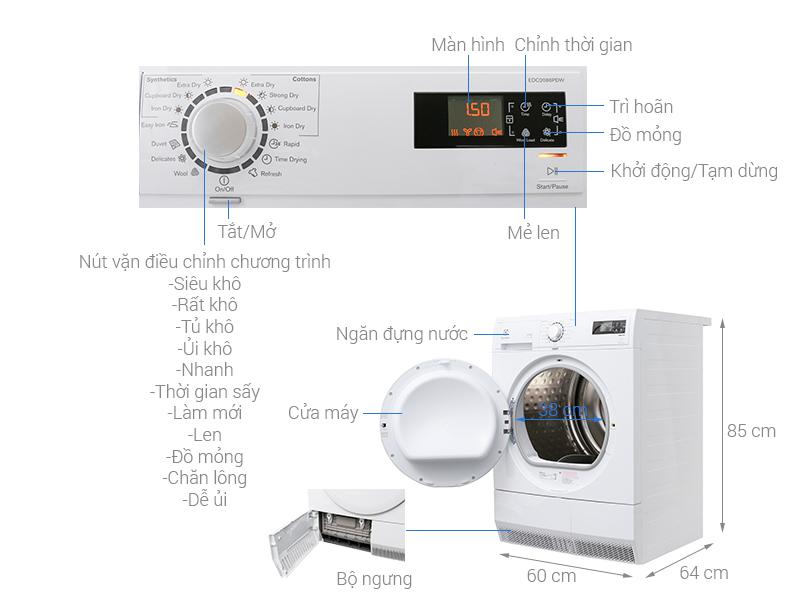 Thông số kỹ thuật Máy sấy Electrolux 8 kg EDC2086PDW