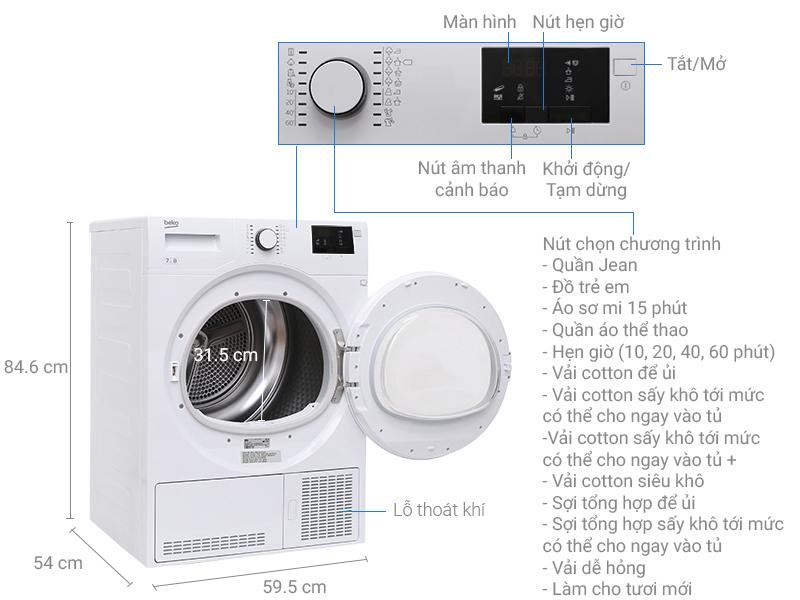 Thông số kỹ thuật Máy sấy Beko 7 kg DU7133 GA0