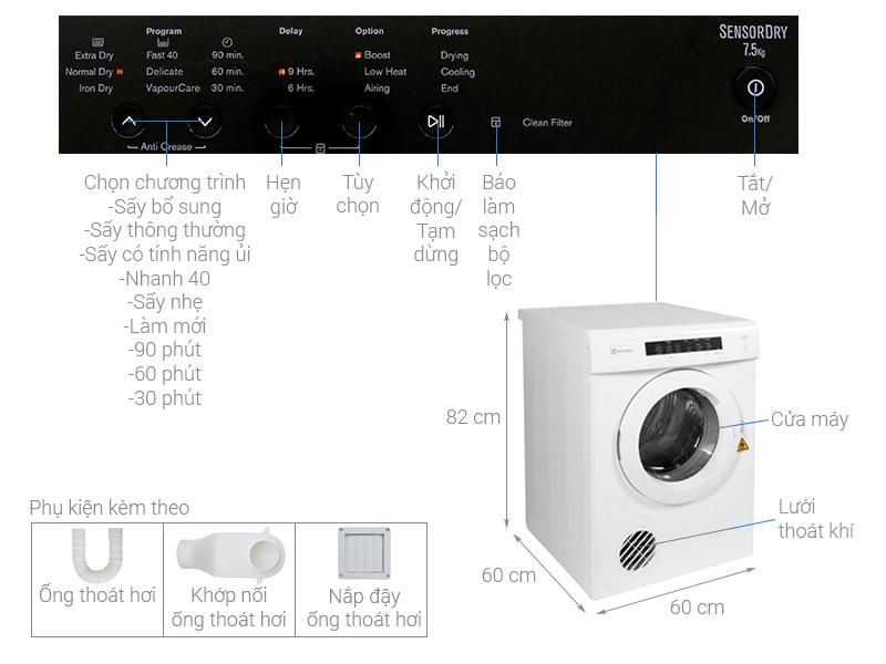 Thông số kỹ thuật Máy sấy Electrolux 6.5 kg EDV6552