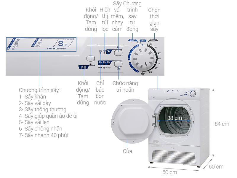 Thông số kỹ thuật Máy sấy Candy 8kg GCC 580NB-S