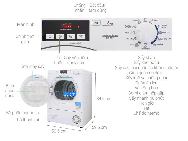 Thông số kỹ thuật Máy sấy Candy 8 kg GVC D813B-S