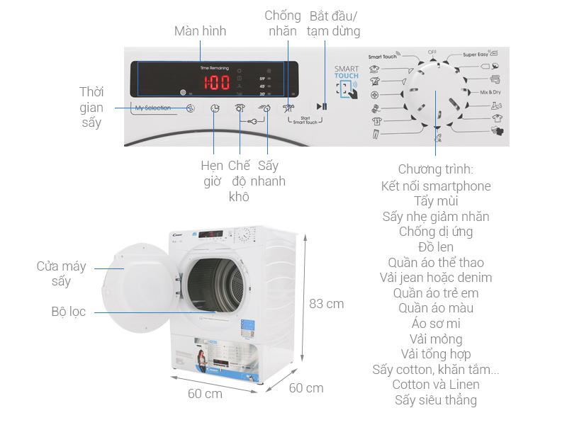 Thông số kỹ thuật Máy sấy Candy 9 kg CS V9DF-S