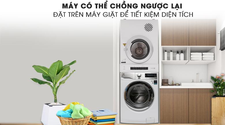 Có thể chồng ngược lên trên máy giặt - Máy sấy Electrolux 8 Kg EDV8052