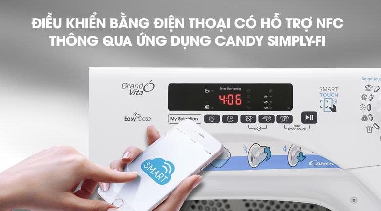 Điều khiển thông qua Smartphone - Máy sấy Candy 9 Kg GVS C9DE-S