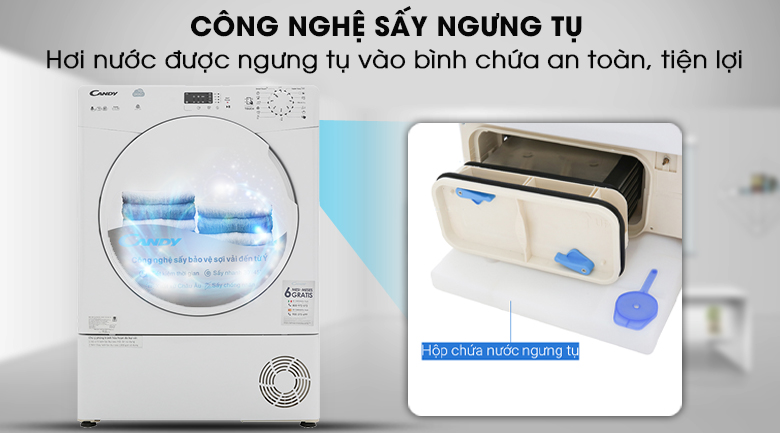 Công nghệ sấy ngưng tụ an toàn, tiện lợi - Máy sấy Candy CS C8LF-S