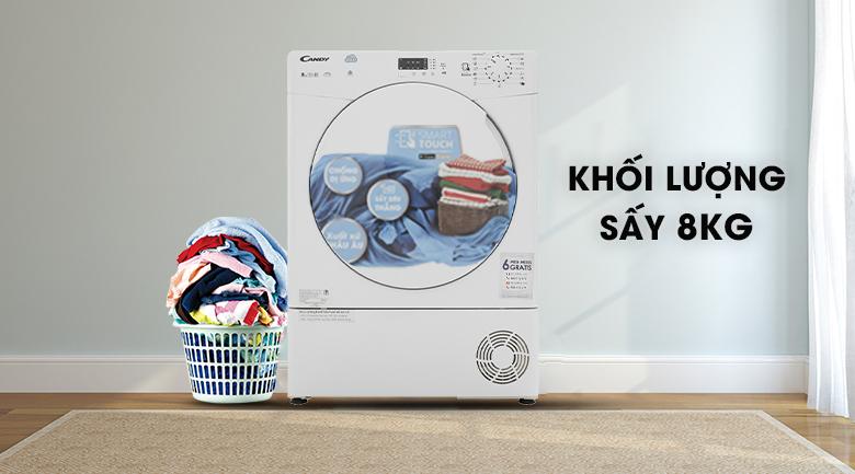 Sấy nhiều quần áo trong một lần sấy với khối lượng 8 kg - Máy sấy Candy CS C8LF-S