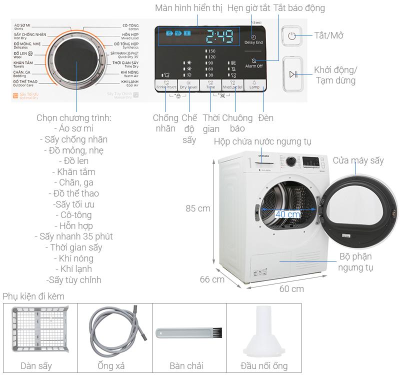 Thông số kỹ thuật Máy sấy Samsung 9 kg DV90M5200QW/SV