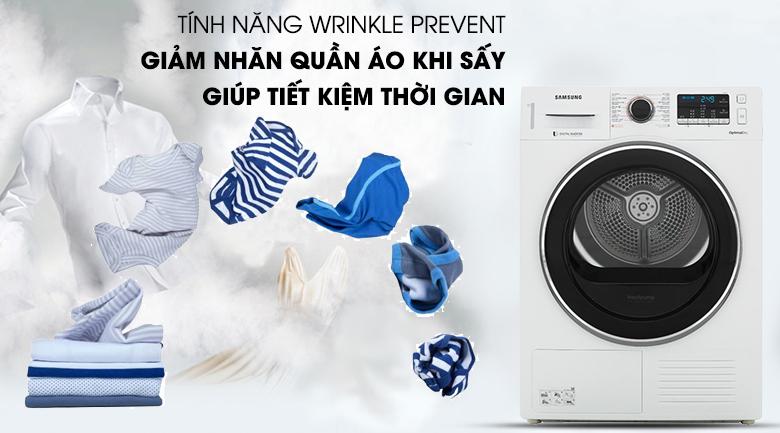 Tính năng Wrinkle Prevent - Máy sấy Samsung 9 kg DV90M5200QW/SV