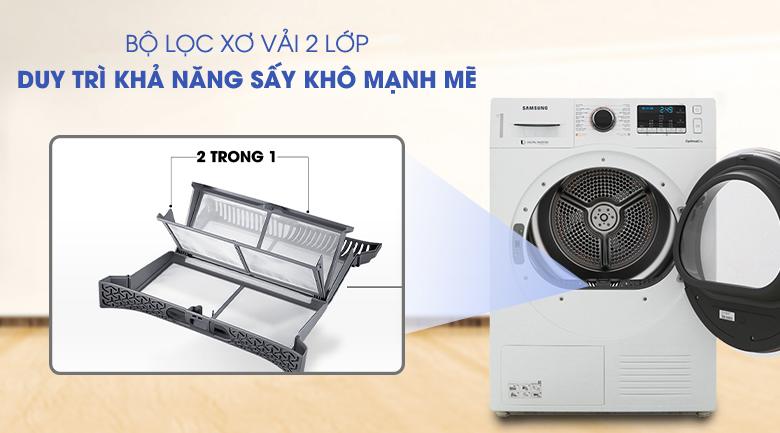 Trang bị bộ lọc 2 trong 1 hiện đại - Máy sấy Samsung 9 kg DV90M5200QW/SV