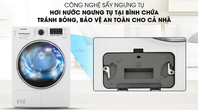 Công nghệ sấy ngưng tụ - Máy sấy Samsung 9 kg DV90M5200QW/SV
