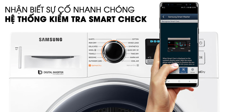 Hệ thống Smart Check - Máy sấy Samsung 9 kg DV90M5200QW/SV