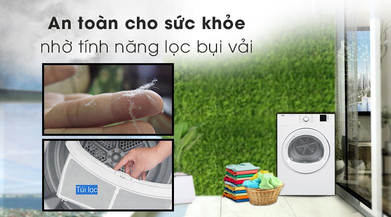 An toàn cho sức khỏe nhờ tính năng lọc bụi vải - Máy sấy Beko 8kg DA8112RX0W